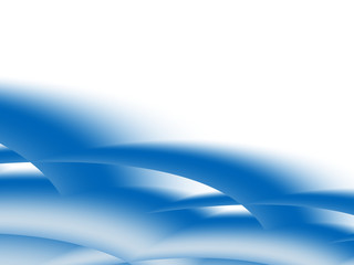Light and dark blue and white fractal with crossing curves resembling stylized clouds or arcs with a 3d effect. Text space. For layouts, templates, presentations, pamphlets, PC or phone background.