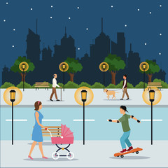 character walking landscape night city street park brench vector illustration eps 10
