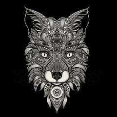 Fox beautiful vector patterns on a black background