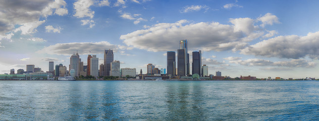 Panoramic view of Detroit city skyline taken from Windsor, Ontar