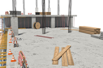 Rendering of building under construction on the white background
