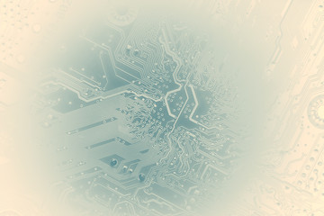 silhouette of a computer motherboard, on a light blue faded background. suitable as a background for your IT technology presentation