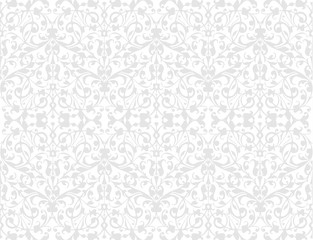 Light Wallpaper with floral ornament with leafs and flowers for vintage design, Vector white retro background