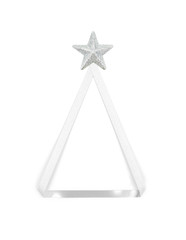fir tree made from silver ribbon and star, isolated on white