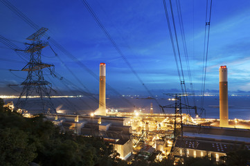 Power plant at dusk