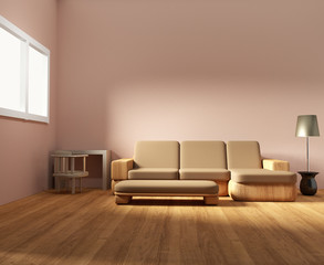 interior living room and furniture wooden room design in 3D render image