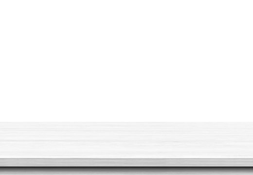 White wood table top on white background.Can be used for display or montage your products