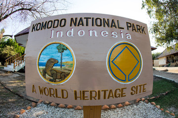 Sign to Komodo National Park, Indonesia