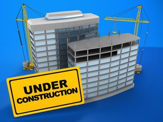 3d illustration of modern buildings over blue background with cranes