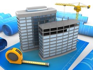 3d illustration of modern buildings over blueprints background with crane