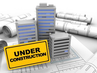 3d illustration of city over drawing rolls background with under construction sign