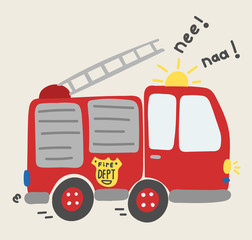 cute cartoon fire truck vector