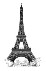 Eiffel tower isolated, very detailled