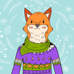 hand drawn fox portrait