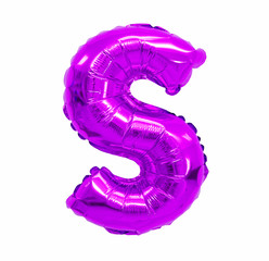letter S from a balloon purple, violet