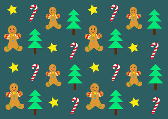 Christmas pattern, tree, candy cane, cookie vector.