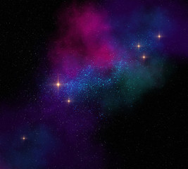 colorful magical starfield on dark space illustration
