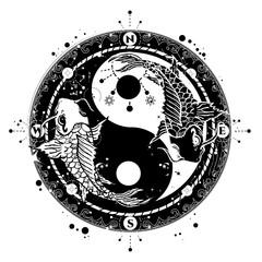 Yin and Yang tattoo art vector, two japanese carp boho style