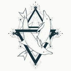 Two dolphins tattoo, love symbols geometric art style