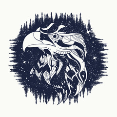 Eagle tattoo art, falcon in night forest, symbol travel