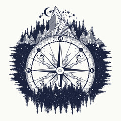 Mountain antique compass and wind rose tattoo art