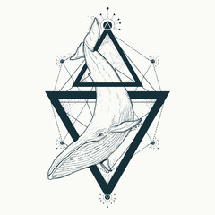 Whale tattoo geometric style. Mystical symbol of adventure