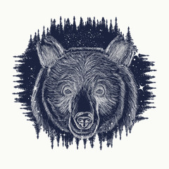 Bear tattoo art, symbol travel and tourism. Portrait grizzly