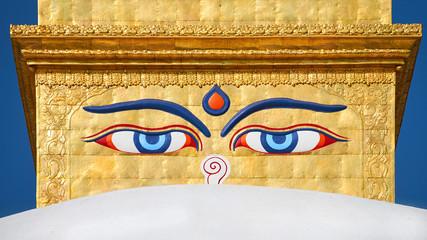 Eyes of the Buddha on the Boudhanath stupa in Kathmandu, Nepal.
