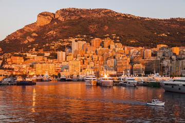 Port Hercule in Monaco at sunrise
