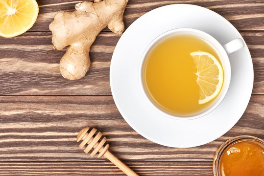 Ginger root tea with lemon and honey