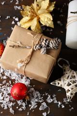 Holiday christmas box top view