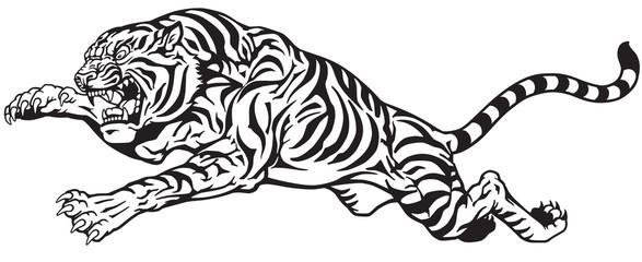 jumping tiger. Aggressive big cat. Black and white tatto