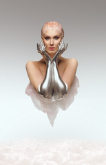 Fantasy portrait of beauty cyber woman from the future with clay hairstyle and silver hands above clouds