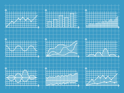 Blueprint infographic line graphs and charts template for presentation report business design vector illustration