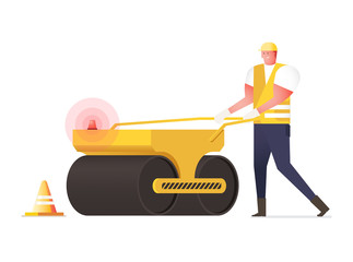 Asphalt compactor in flat style. Vector icon of road roller comp