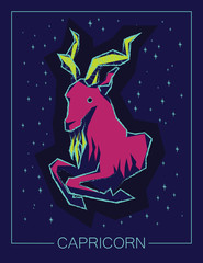 Zodiac sign Capricorn on night starry background.