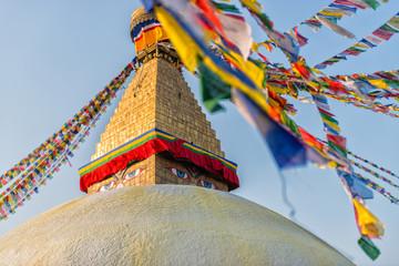 Boudhanath Stupa with prayer flags, Kathmandu, Nepal