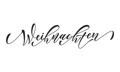 German Merry Christmas Frohe Weihnachten calligraphy text greeting