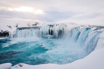 Godafoss waterfall in Iceland during winter