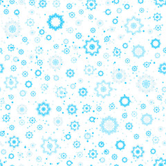 Snowflakes seamless pattern, blue and white colors