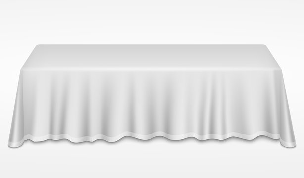 Empty dinner banquet table with white cloth 3d realistic desk vector illustration