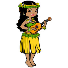 Hawaiian woman playing music with her guitar in a grass skirt and exotic flowers.