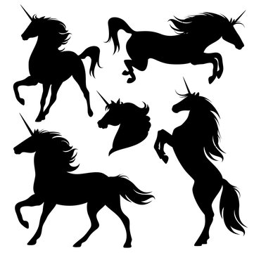 unicorn horses black vector silhouette set