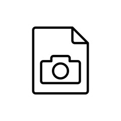 thin line photo file, gallery icon on white background