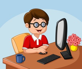 Little boy with personal computer