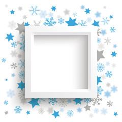 White Frame Christmas Stars Snowflakes