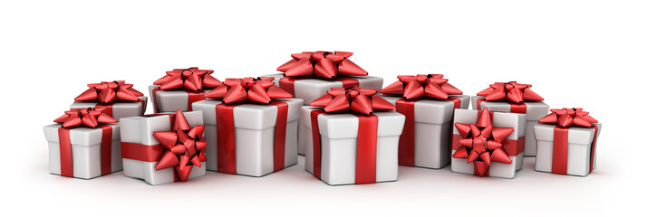 Many gift and white background
