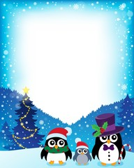 Frame with stylized Christmas penguins 1