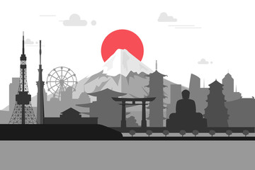 Silhouette illustration of Tokyo city in Japan.Japan landmarks F