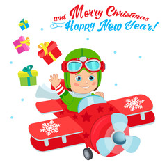 Foto auf Leinwand Konigtum Christmas Santa Helper Boy Cartoon Character. Cute Boy Pilot Flies On A Airplane And Deliver Christmas Gifts. Design For New Year Holiday Theme. Boy Pilot Costume. Baby Boy Pilot Hat.